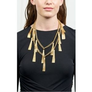 Rachel zoe fringe gold tone necklace boho chic